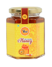 Natural Honey Packed in Glass Hexa Shape Bottle